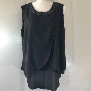Bisou Bisou Black sequins flowy sleeveless top OX